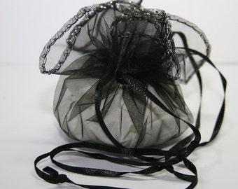 10 Pcs. organza bag / jewelry bag / color: black / ca. Ø 26cm    OS008