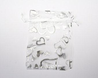 10 Piece organza bag 9 x 12 cm whitesilver OS62