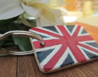 Union Jack Wooden Keyring - UK Flag Keyring - British Flag Keyring