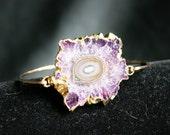 Amethyst Stalactite Slice Edged in 24k Gold Bangle Bracelet Gold Filled Hand Hammered - Stackable