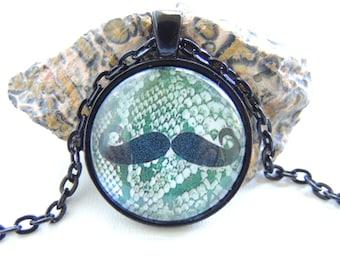 Snake Skin Mustache Necklace, Python, Snake Skin, Pendant Necklace, Hipster Necklace, Mustache Jewelry. A333