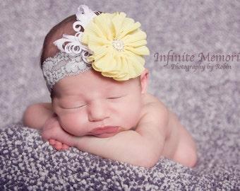Grey And Yellow Infant, Baby, Child Lace and Chiffon Headband