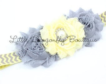 Butter Yellow and Grey Chevron Triple Blossom Headband {baby headband, toddler headband, yellow and gray}