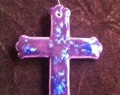 Cross royal purple and blue handmade Pottery Ornament