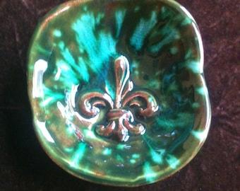 Fleur de Lis green and blue green handmade Pottery Bowl