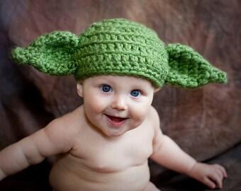 Pattern Yoda Baby Hat, Crochet Pattern Yoda, Dobby, Star Wars, Yoda Costume, Quick, Instant Download, Beanie, Toboggan, Harry Potter