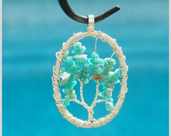 Mystic Green Tree of Life Pendant Metal Wire Wrapped / Gift under 20