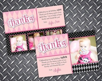 Lil Angel Rockstar Birthday Thank You Card
