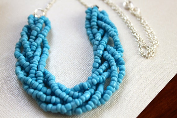 Multi Strand Braided Seed Bead Necklace - Sale