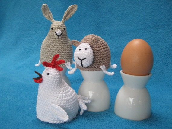 Crochet Pattern PDF Egg - cosy Chicken, Bunny, Sheep