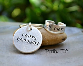 I Carry Your Heart- His and Her Hand Stamped Token and Ring Set