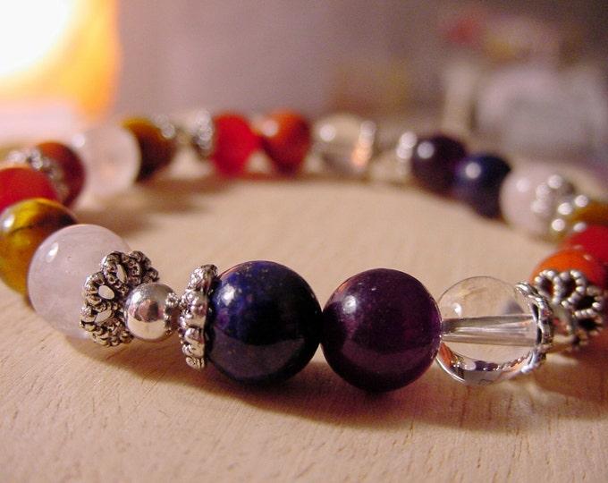 7 Chakra Bracelet, Gemstones, Balance, Harmonize Energy Meridians, Reiki Jewelry, Yoga Jewelry, Gift Idea,