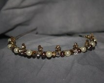 Tiara or Headband with Chocolate and white glass pearls, Swarovski crystals