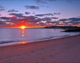 Bristol Beach Sunset Falmouth Cape Cod Summer Beach Landscape 5x7 Fine Art Print Framed