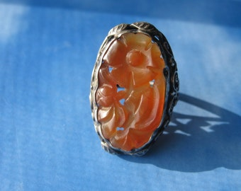 Antique Carnelian Ring, Sterling Carved Carnelian Ring