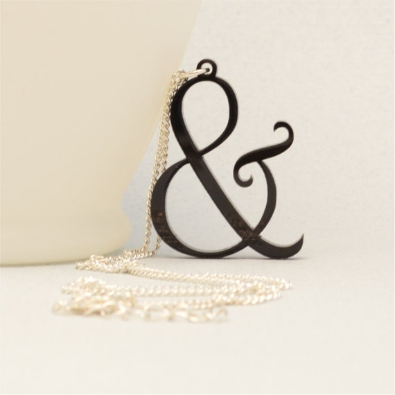 ampersand, bookishly speaking, book necklace, literary necklace