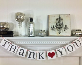 Thank You Sign - Wedding Banner Photo Prop - Wedding Sign - Wedding Decoration - Charcoal Grey and Red, B242