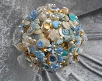Something Blue Vintage Button Bouquet