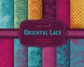 INSTANT DOWNLOAD 12 Lace Digital Papers Pack in vivid colours. (paper crafts,card making,scrapbooking)