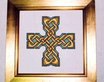 Celtic Cross stitch pattern - Four Knots Celtic Cross - pdf file instant digital download