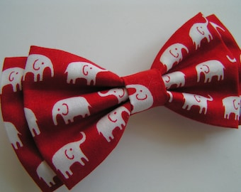 hair bow,red and white elepants,elephant print,fabric bows,girls hair bows