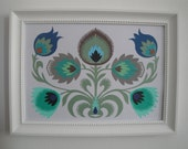 handmade flowers papercut  - blue
