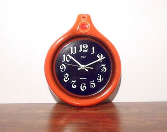 SALE Vintage German Kitchen Pottery Wall Clock Baduf Electronic