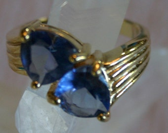 Gorgeous Electric Blue Two Stone Heavy Electo-Gold Plate on Sterling Ring made in Canada
