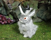 Gray Grey Jackalope Rabbit with Horns Easter Bunny Furry Animal Taxidermy Decor