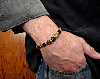 Tiger Eye, Faceted Black Lace Agate, Black Onyx, Silver Accents Men's Bracelet , Men's Jewelry