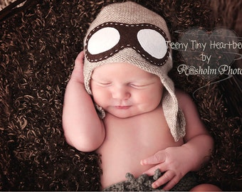 Aviator hat with goggles - Newborn aviator hat  - Baby Pilot hat  - Baby Flyer knit hat - Pilot knit hat - Photography prop