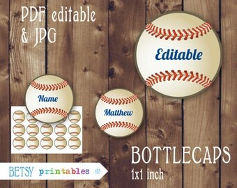 Editable Baseball Bottlecaps images, bottlecaps sport, Editable PDF, Instant Download - 123