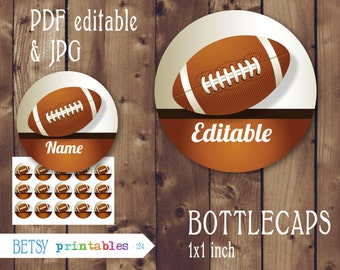 Editable Football Bottle caps images -  Editable PDF - Instant Download - 124