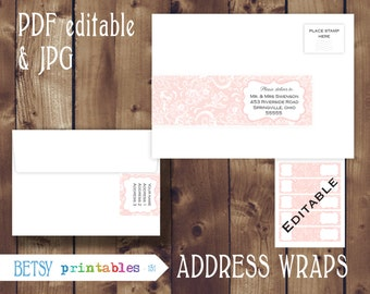 Editable Address wraps, editable return address, Printable PDF and JPG envelope wrap labels - Instant Download - 151