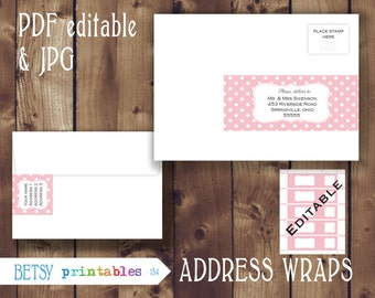 Editable Address wraps, editable return address, Pink dots Printable PDF and JPG envelope wrap labels - Instant Download - 154
