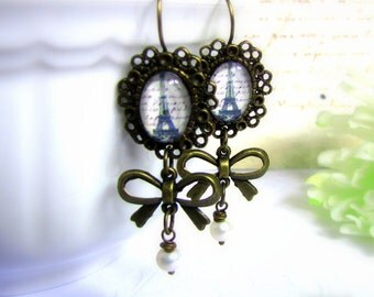 Paris Earrings Eiffel tower earrings Antique style earrings romantic Vintage Inspired  - Midnight in Paris Gift for her