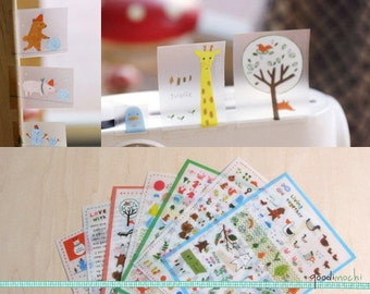 Toffeenut Deco Sticker Set // Cute Stickers, Diary Stickers, Journal Stickers, Animals, Forrest, Happy, Kawaii // 7 Sheets, 350 Pcs