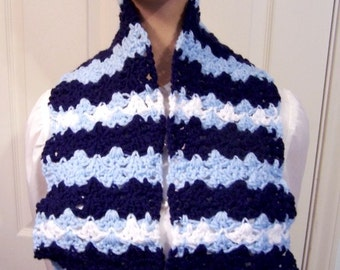 Hand Crocheted Scarf: Navy & Pale Blue with White Stripes - M0079