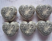 6  Black & Cream Etched Floral Heart Acrylic Beads  16mm