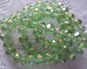 24  Light Spring Green AB Faceted Rondelle Crystal Beads  8mm x 6mm