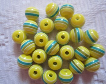 25  Sun Yellow White & Teal Blue Striped Round Resin Acrylic Beads  8mm