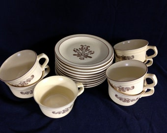 Vintage Pfaltzgraff Village Pattern Cups and Saucers Set of 7