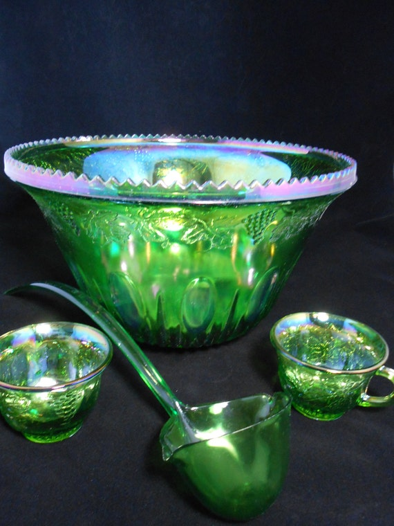 Iridescent Lime Green Raindrop Beaded Curtain: Carnival Glass Iridescent Lime Punch Bowl Set By GramsAntiques
