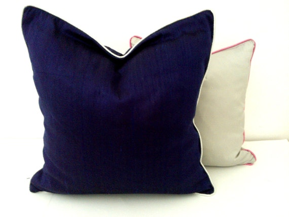 Items similar to Silk Navy Blue Throw Pillow, Midnight Blue Cushion, Modern Home Decor on Etsy
