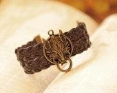 Charm Bracelet  wolf bracelet,retro wolf head pendant bracelet,brown braid leather bracelet---B013