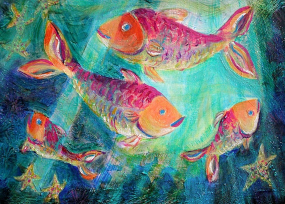 Four fish swimming art print 10 x 14 by henishappypaintings for Happy fish swimming