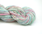 Handspun Corespun Yarn, Bulky Art Yarn, 5 oz, 121 yards, Merino, Faux Cashmere, Firestar, pastel blue, green, pink, cream, Cotton Candy - TheSavvyStitch