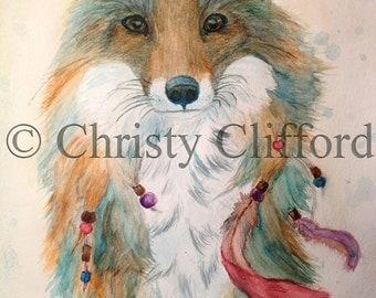 Art Print of Original Native American Fox Watercolor 11x14