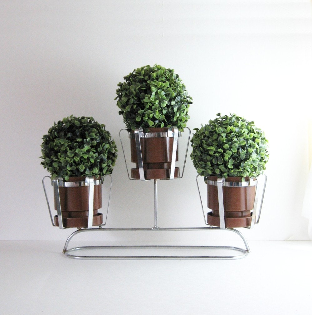 Vintage 3 Pot Chrome Planter Mid Century Modern Home Decor