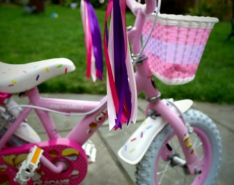 Bike and Scooter Ribbons 'Pinky', bike ribbons, scooter ribbons, pink scooter ribbons, pink bike ribbons, scooter decoration,bike decoration